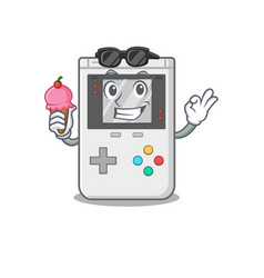 Happy cartoon handheld game scroll with ice vector