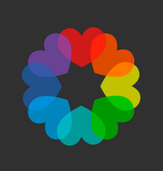 hearts spectrum on black background vector image