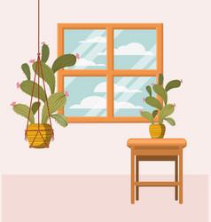 Houseplant in macrame hanger with window vector