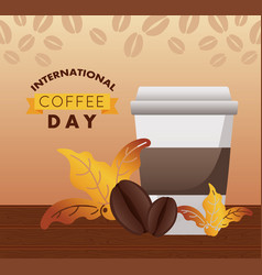 International coffee day celebration with plastic vector