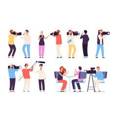 journalists broadcaster news journalists vector image