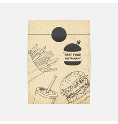 Kraft paper takeaway bag with fastfood vector