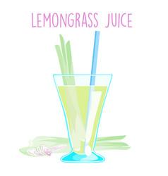 Lemon grass juice on white background vector