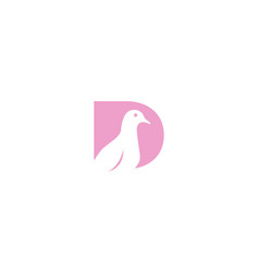Letter d or initial d for doves or pigeon bird vector