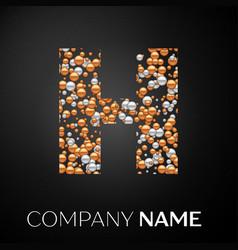 Letter h logo gold-silver dots alphabet logotype vector