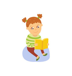 little girl reading a book sitting on the floor vector image