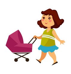 little girl walks with baby carriage for dolls vector image
