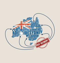 map of australia free delivery stamp vector image vector image
