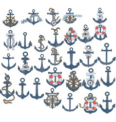 marine or nautical themed ships anchor icons vector image
