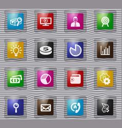 marketing glass icons set vector image
