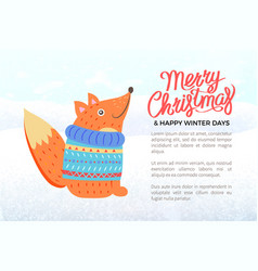 merry christmas banner with fox in knitted sweater vector image