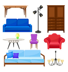 modern furniture collection interior design vector image