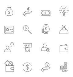 Money icon set outline vector image