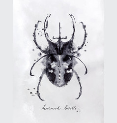 monotype horned beetle black vector image