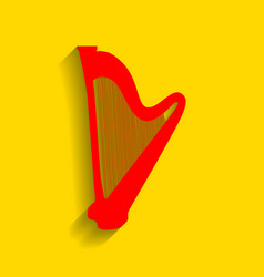musical instrument harp sign red icon vector image vector image
