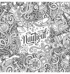 Nautical cartoon doodle frame vector image