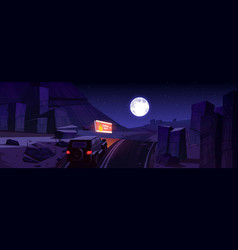 night desert with car on road and billboard vector image