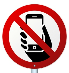 No mobile phones sign over white vector image
