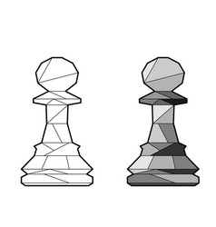 Outline chess pawn vector