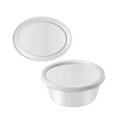 oval white plastic box for your design and logo vector image