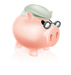 Pension pig money box vector