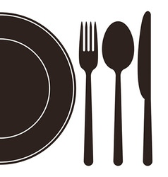 Plate fork spoon and knife vector image vector image