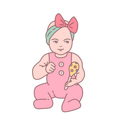 pretty newborn baby girl dressed in romper suit vector image