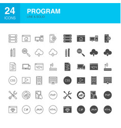 program line web glyph icons vector image