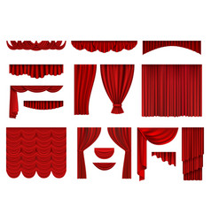 red curtains textile theatrical opera scenes vector image