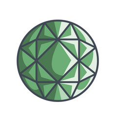 round brilliant gemstone in a flat style vector image