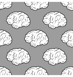 Seamless Brains on the grey background vector image