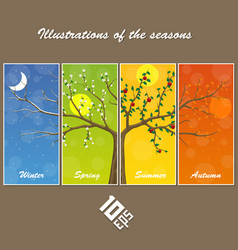 Seasons in the tree cover vector