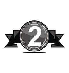 second runner up logo design template vector image