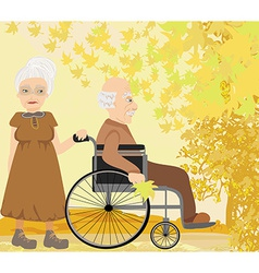 Senior couple in autumn day vector image