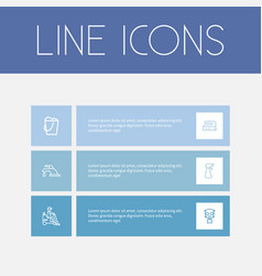 set of 6 editable cleaning outline icons includes vector image