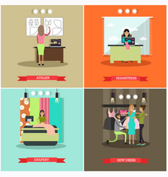 set of fashion atelier flat posters vector image