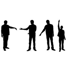 Set of people silhouettes pointing with fingers vector