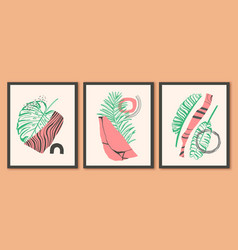 set wall art pictues with green exotic palm vector image