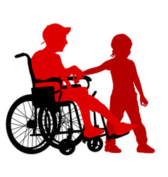 Silhouettes disabled in a wheel chair on a white vector