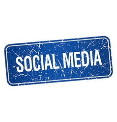 Social media blue square grunge textured isolated vector