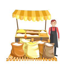 street counter with tent full of cereals in sacks vector image