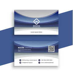 stylish blue wavy business card template vector image