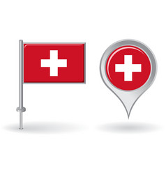 Swiss pin icon and map pointer flag vector