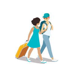 traveling couple with travel bag and backpack vector image