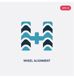 Two color wheel alignment icon from vector