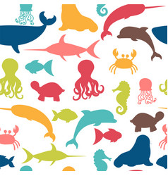 Underwater seamless pattern with fishes octopus vector