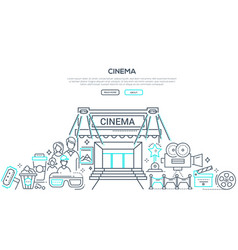 visiting cinema linear landing page vector image