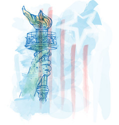 Watercolor torch statue liberty on usa flag vector