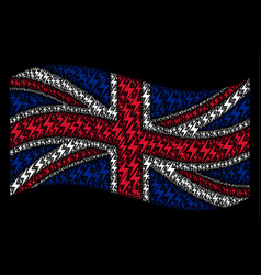 Waving united kingdom flag collage of electric vector