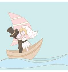Wedding couple on the ship vector